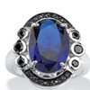.40 TCW Oval-Cut Blue Spinel and Black CZ Ring in .925 Sterling Silver