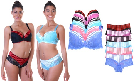 6 Pack Matching Bra and Panty Set with Pin-Stripe and Lace, SOLD SEPARATELY