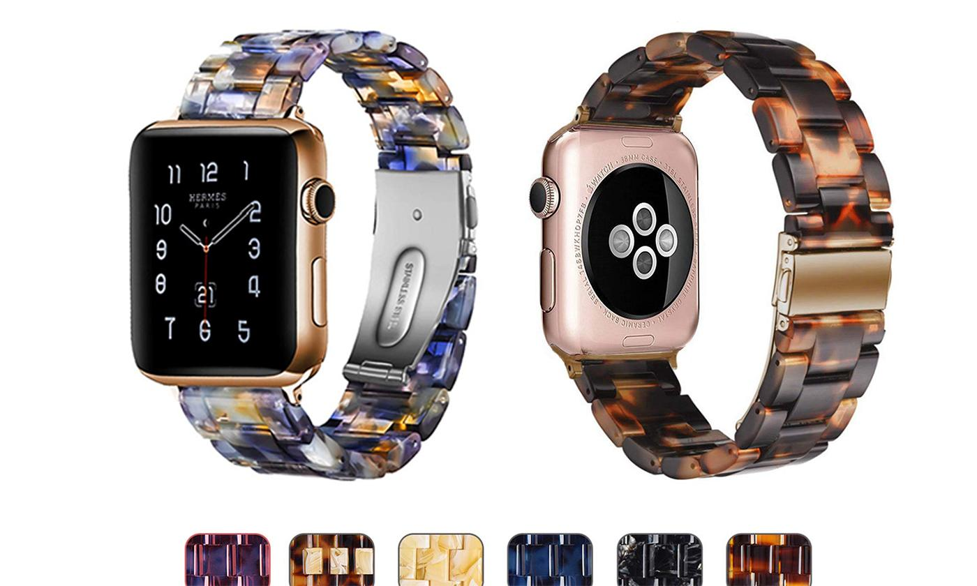 6 Color Resin Band Bracelet Compatible with Apple Watch Series 5,4,3,2,1