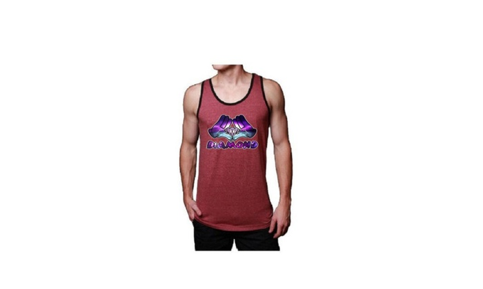 Mens Soft Jersey Diamond Hand Cranberry Red Tank Top
