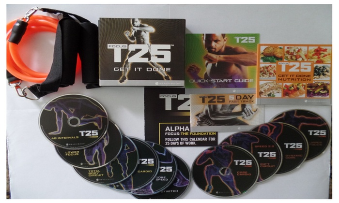 Focus T25 Complete Workout Fitness Dvd Set + Guides