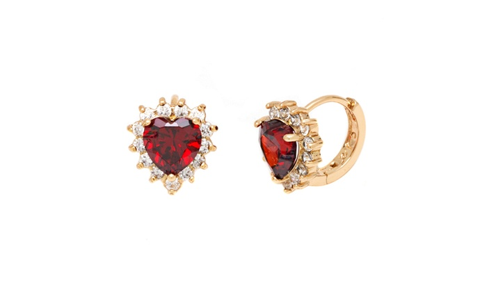 f14182fb7 Ruby Heart with Omega Back Closure in 18K Gold   Groupon