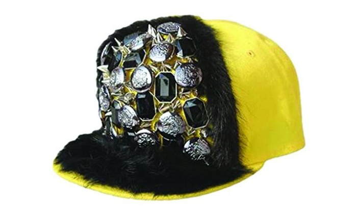 Long Spike Spiky Rivet Stud Button Fur Embellished Baseball Hat Yellow - Yellow / Adjustable