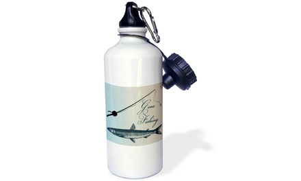 Water Bottle Gone Fishing Fish with Pole Beach Theme Art