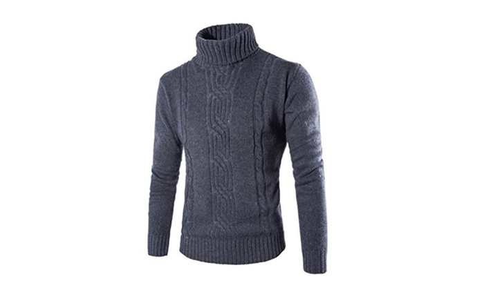 Man High Neck Solid Knitting Sweaters