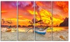 Boat at Sunset Panorama Landscape Metal Wall Art 48x28 4 Panels