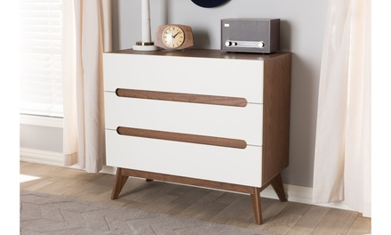 Calypso White and Walnut Wood Storage Chest or Dresser