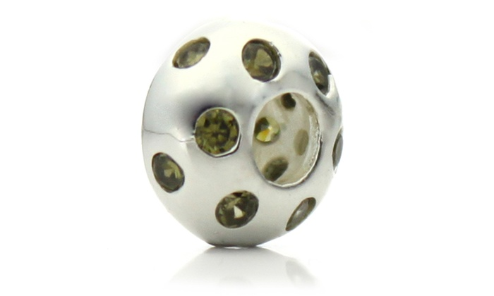 Groupon Goods: Silver Plated Green Crystal 'Disco Night' Pacific Bead