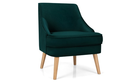 Costway Accent Chair Velvet Upholstered Single Sofa with Rubber Wood Legs Green