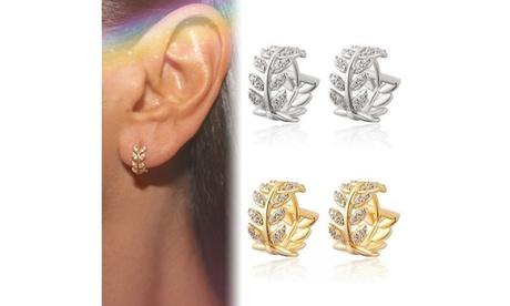 Retro Leaves Diamond 925 Sterling Silver Plated Crystal Zircon Earrings Clip
