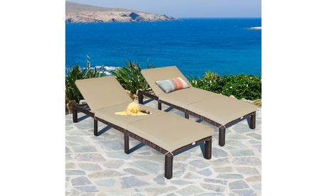 Costway 2PCS Outdoor Rattan Lounge Chair Chaise Recliner Adjustable Cushioned