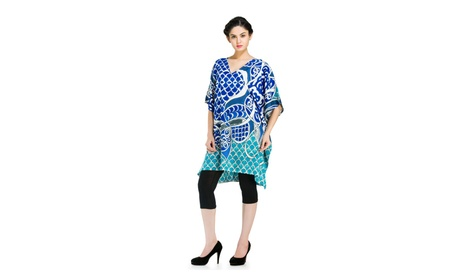 Women's Plus Size Top Bohemian Printed Ethnic Loose Casual Tunic Dress - Blue