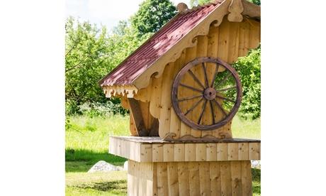 Set of 2 30 In Decorative Vintage Wood Garden Wagon Wheel w/Steel Rim Wall Decor