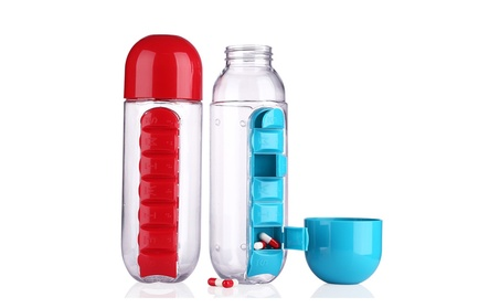 600ML Water Bottle With Daily Pill Box 7Day Organizer Drinking Bottles 8c92e35c-28c3-4f7c-be7c-9f08a85d692e