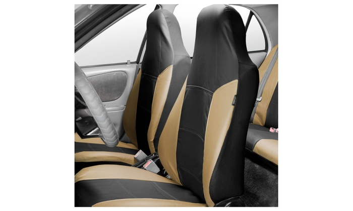 PU Leather Full Set Airbag Compatible And Split Bench Car Seat Covers