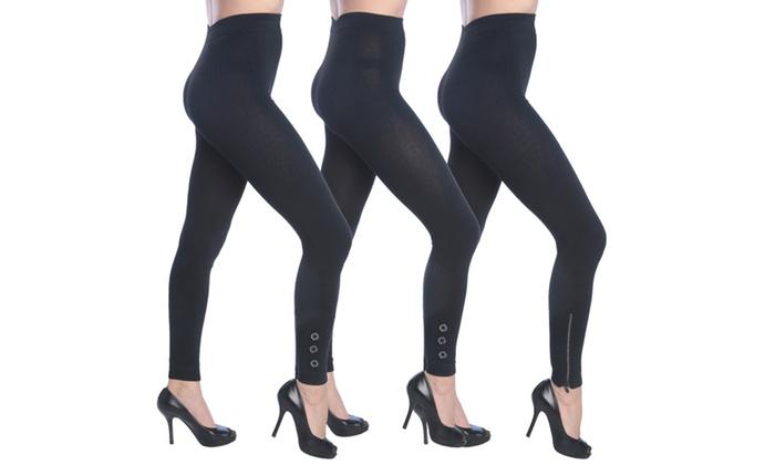 Women's Black Heavy Fashion Leggings 3-Pack