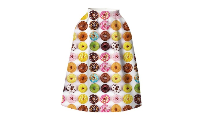 Colored Donuts High Waist Umbrella Skirt BSQ 031