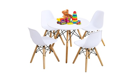 5 Piece Kids Mid-Century Modern Table Set Round Table w/ 4 Armless Chairs White
