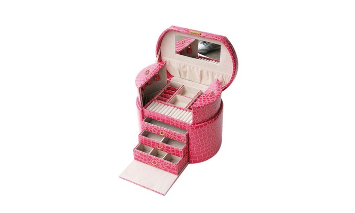 Jewelry Box Case Built Mirror Ring Earring Necklace Organizer Storage