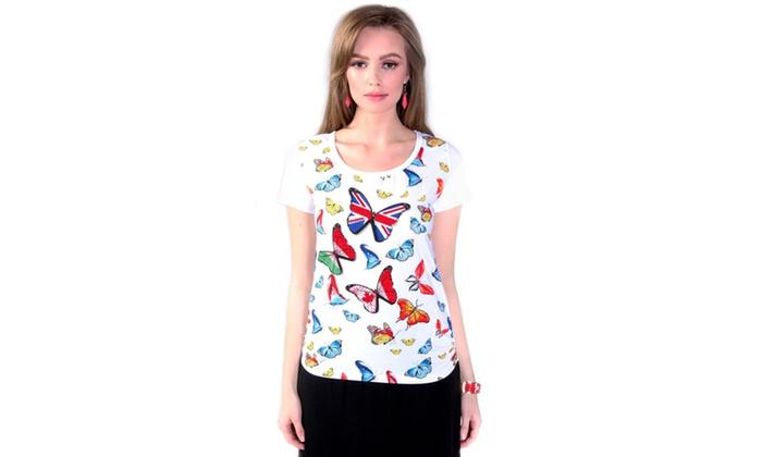 Xehar Women's Rhinestone Butterfly T-Shirt