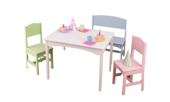Kidkraft 26112 Nantucket Table With Bench And 2 Chairs Pastel