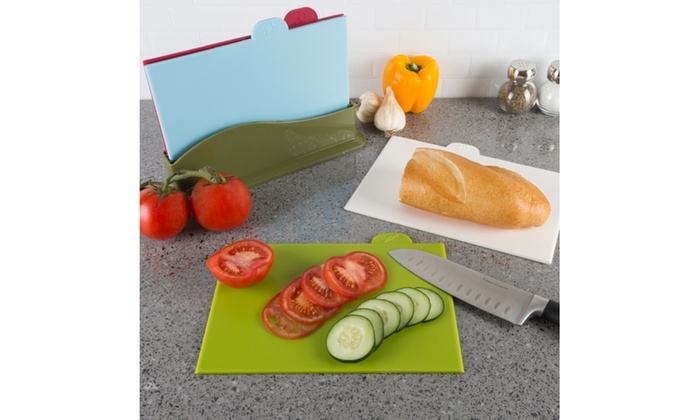 Plastic Cutting Boards With Storage Container Set 5 Piece