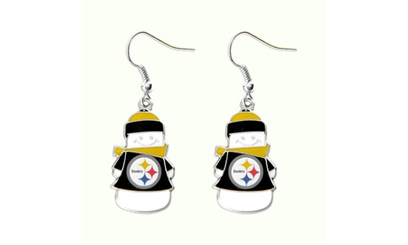 Pittsburgh Steelers NFL SNowman Holiday Dangle Logo Earring Set c3143ab2-30a0-4bc1-991d-1023db8dbf33