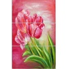 Red Tulips in Red Background - Floral Metal Wall Art