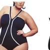 Womens Black Strappy V-Neck Plus Size Monokini Swimwear