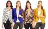 Women's 3/4 Sleeve Open Front Cardigan Jacket Work Office Blazer with Plus size