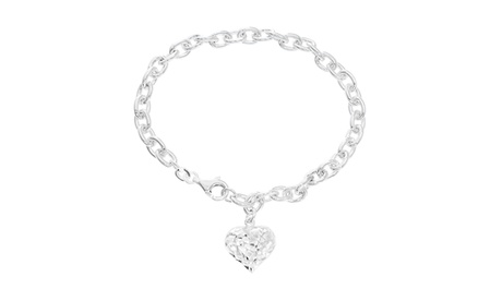 Sterling Silver Cable Chain with Heart Charm Bracelet 8fa0294c-032a-4a97-a48f-4683f53bcccc