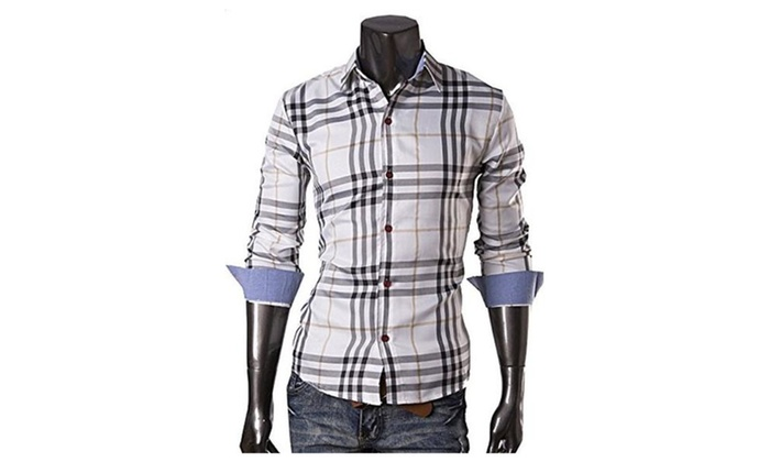 Digormers Vintage Style Cotton Blend Turn Down Collar Big Plaid Men Sweatshirt Shirts