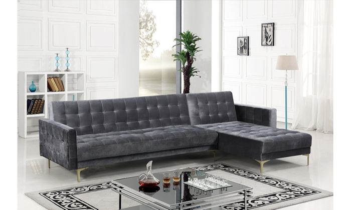Aziz Right-Facing Convertible Sectional Sofa Sleeper Bed | Groupon