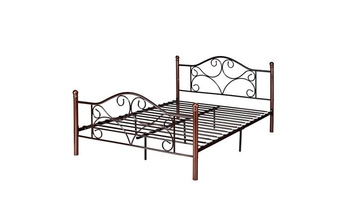 Queen Size Steel Bed Frame Platform Stable Metal Slats Headboard