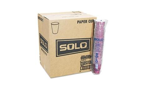 Solo 412SINPK Bistro Design Hot Drink Cups Paper 12 oz. Maroon 50/Pack 127e20c7-215e-4a45-8b08-eacd85423b8d