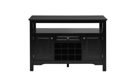 Storage Buffet Sideboard Table Sever Cabinet Wood Wine Rack Dining Kitchen Black
