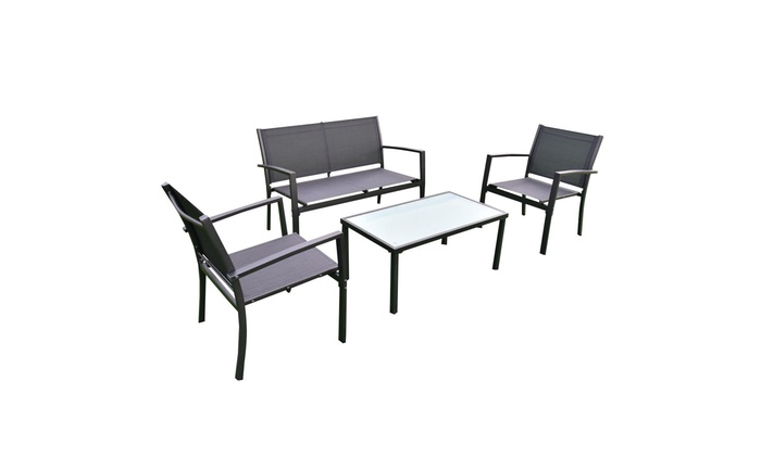 4 Pcs Outdoor Patio Furniture Set Sofa Loveseat Tee Table Garden