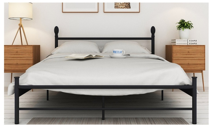 Platform metal full bed frame mattress foundation with for Bed frame and mattress deals