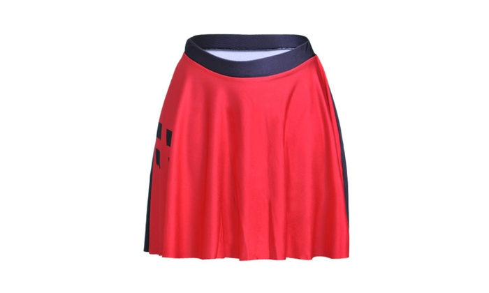 Digital printing black and red diamond-shaped skirt