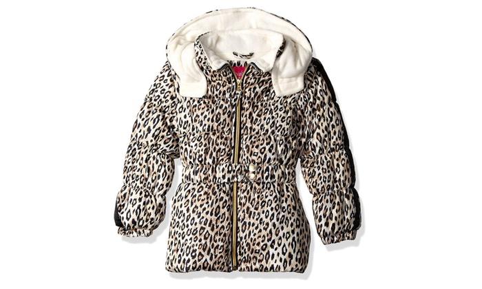 60d18396da16 Pink Platinum Girls' Cheetah Print Puffer Jacket   Groupon