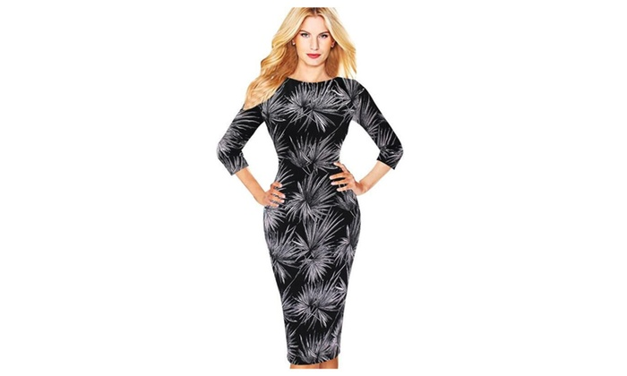 Women Round Neck Printed Pattern Knee Length Pencil Dress – ZWWD371