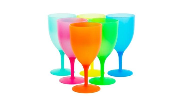 Reusable Plastic Picnic Goblets Set of 6 14 Oz Party Wine Glasses ...
