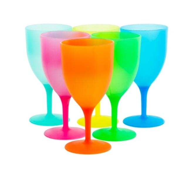 aae17d8b468 Reusable Plastic Picnic Goblets Set of 6 14 Oz Party Wine Glasses