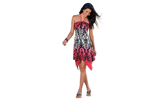 Women's Top Pretty Handkerchief Halter Beach Printed Dress