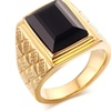 Design Rhombus Black Stone Ring for Men