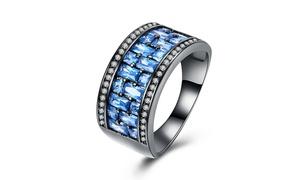 Black Gun Plating Blue CZ Lining Ring By Golden NYC Jewelry