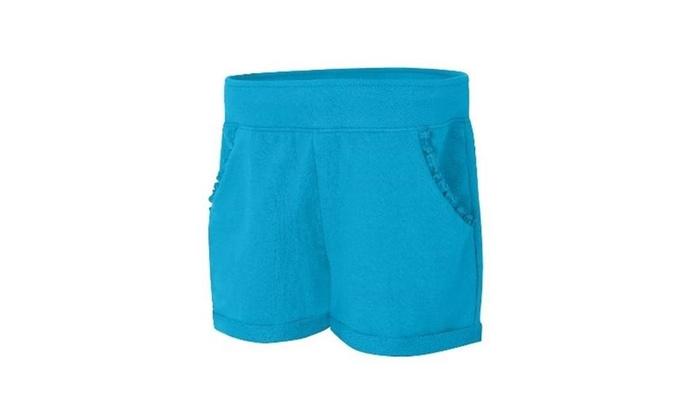 28b4f64586d4e Hanes OK263 Girls Ruffle Pocket Shorts Process Blue - Large