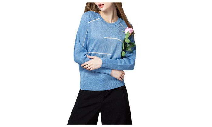 Women's Pullover Regular Fit Fashion Striped Pullovers