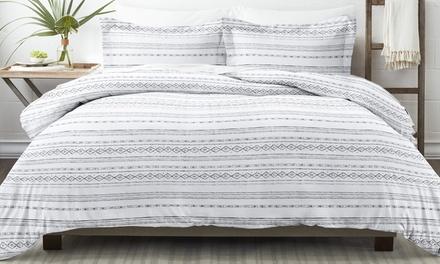 Home Collection Premium Ultra Soft Geo Threads Pattern 3 Piece Duvet Cover Set