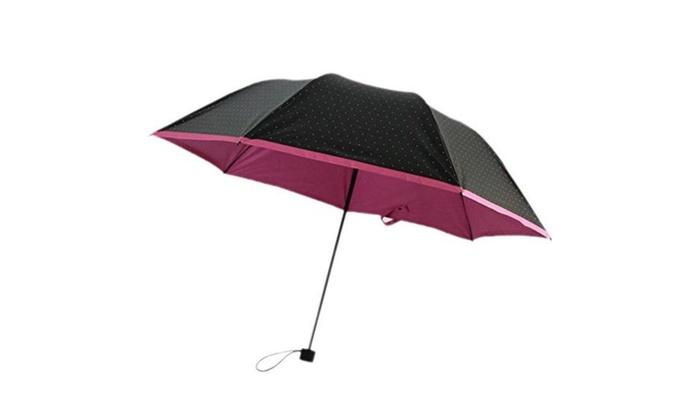 sun rain umbrella anti uv parasol folding small dots pencil umbrella groupon. Black Bedroom Furniture Sets. Home Design Ideas
